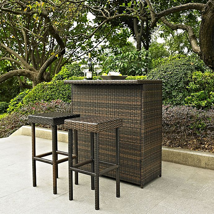 Alternate image 1 for Crosley Palm Harbor 3-Piece Wicker Bar Set