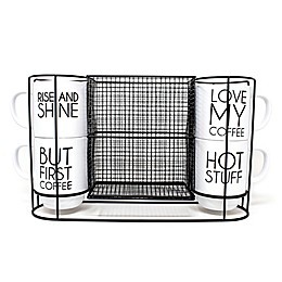 5-Piece Stacking Mug and Rack Set