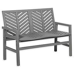 Forest Gate Olive Outdoor Acacia Wood Loveseat Bench in Grey Wash