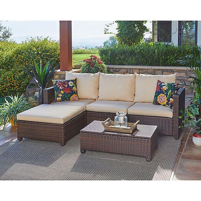 Handy Living Azura 5 Piece Patio Sectional Conversation Set Bed Bath Beyond