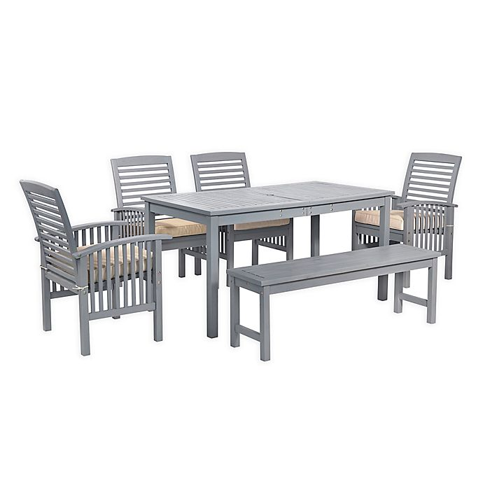 Forest Gate Arvada 6 Piece Acacia Wood Outdoor Dining Set Bed Bath And Beyond Canada