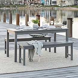Forest Gate Arvada 3-Piece Acacia Wood Outdoor Dining Set in Grey Wash