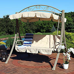 Sunnydaze Decor Garden Swing with Canopy and Beige Cushions