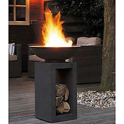 Astella Modern Fire Pit Bowl with Base in Dark Granite