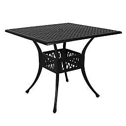Sunnydaze Decor 35-Inch Square Outdoor Dining Table in Black