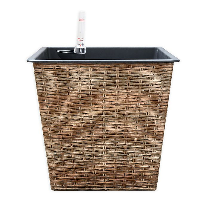Alternate image 1 for Vifah Thin Square Medium Self-Watering Wicker Planter in Sandy Brown