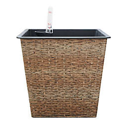 Vifah Thin Square Medium Self-Watering Wicker Planter in Sandy Brown