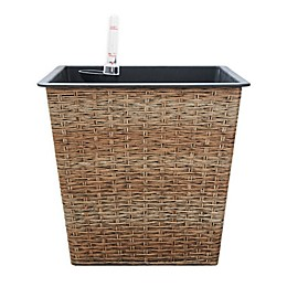 Vifah Large Self-Watering Square Wicker Planter in Sandy Brown