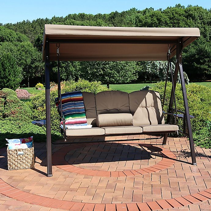 Sunnydaze Decor 3-Person Patio Swing with Canopy and ...