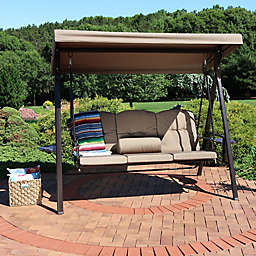 Sunnydaze Decor 3-Person Patio Swing with Canopy and Cushions