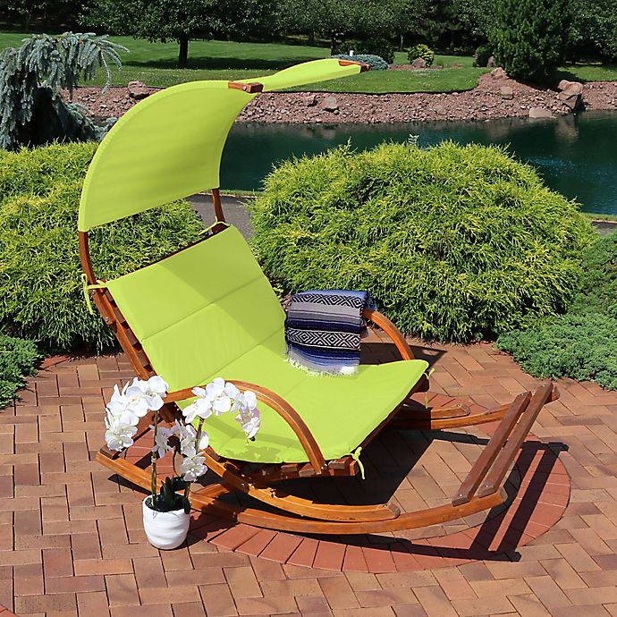 Wooden Rocking Chair In Lime Green