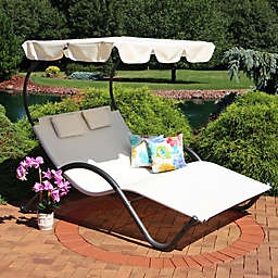 Sunnydaze Decor 2-Person Chaise Lounger in Beige