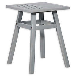 Forest Gate Olive Acacia Outdoor Side End Table in Grey Wash