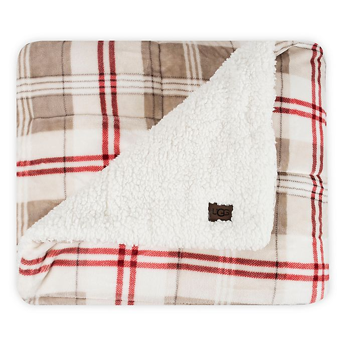 Alternate image 1 for UGG® Avalon Reversible Throw Blanket in Oatmeal/Redwood