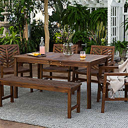 Forest Gate Olive 6-Piece Outdoor Acacia Dining Set in Dark Brown
