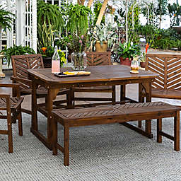 Forest Gate Olive 6-Piece Outdoor Acacia Extendable Table Dining Set in Dark Brown