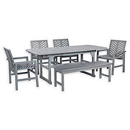 Forest Gate Olive 6-Piece Outdoor Acacia Extendable Table Dining Set in Grey Wash