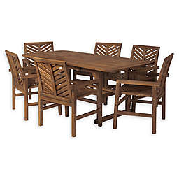 Forest Gate Olive 7-Piece Outdoor Acacia Extendable Table Dining Set in Dark Brown