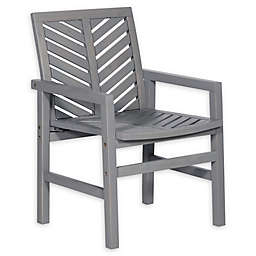 Forest Gate Olive Acacia Wood Outdoor Chairs in Grey Wash (Set of 2)