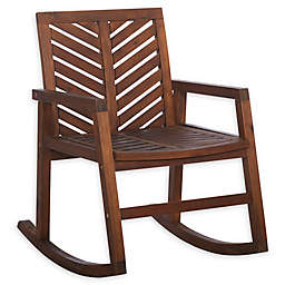 Forest Gate Olive Acacia Wood Outdoor Rocking Chair in Dark Brown
