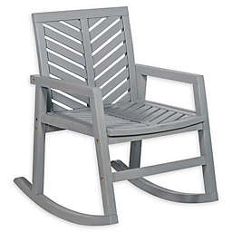 Forest Gate Olive Acacia Wood Outdoor Rocking Chair in Grey Wash