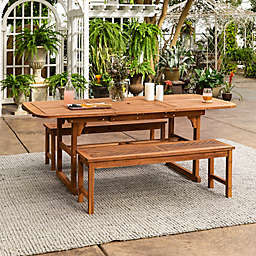 Forest Gate Olive 3-Piece Outdoor Acacia Extendable Table Dining Set in Brown