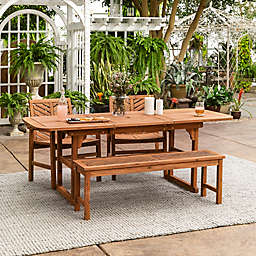Forest Gate Olive 4-Piece Outdoor Acacia Extendable Table Dining Set in Brown