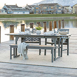 Forest Gate Olive 4-Piece Outdoor Acacia Extendable Table Dining Set in Grey Wash