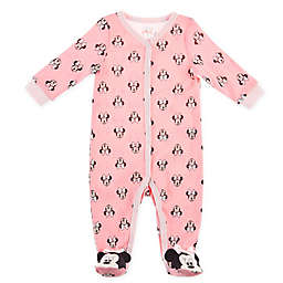 Disney Baby® Metallic Print Minnie Mouse Footie in Pink