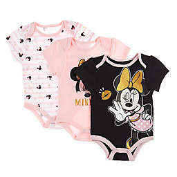Disney Baby® 3-Pack Minnie Mouse Bodysuits in Pink/Gold