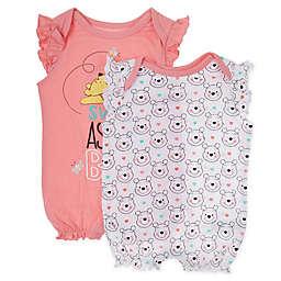 Disney Baby® 2-Pack Girl's Winnie the Pooh Short Sleeve Rompers in Pink