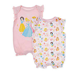 Disney Baby® 2-Pack Princess Rompers in Pink