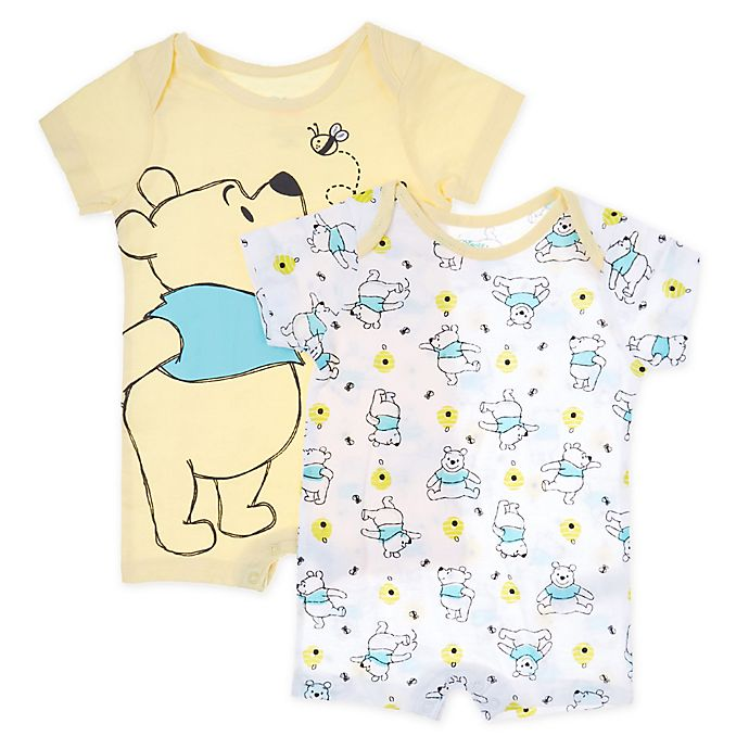 Alternate image 1 for Disney Baby® 2-Pack Pooh Knit Rompers