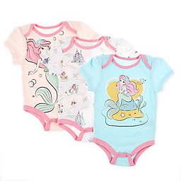 Disney Baby® 3-Pack Ariel Bodysuits in Pink/Gold