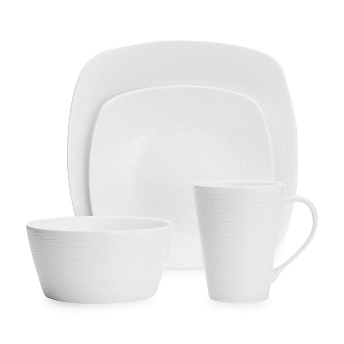 Alternate image 1 for Noritake® White on White Swirl Square Dinnerware Collection