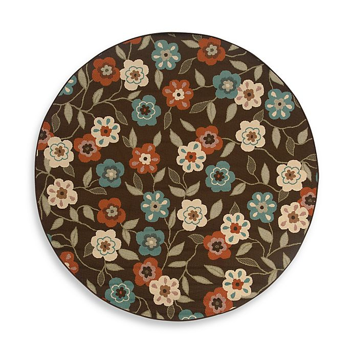 Alternate image 1 for Cabana Bay Resort 7-Foot 10-Inch Round Rug in Brown Floral