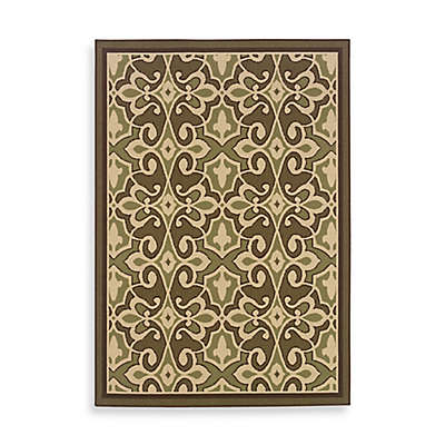 Cabana Bay Resort Indoor/Outdoor Rug in Damask Green