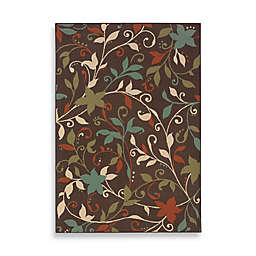 Cabana Bay Villa Leaves Indoor/Outdoor Rug in Brown
