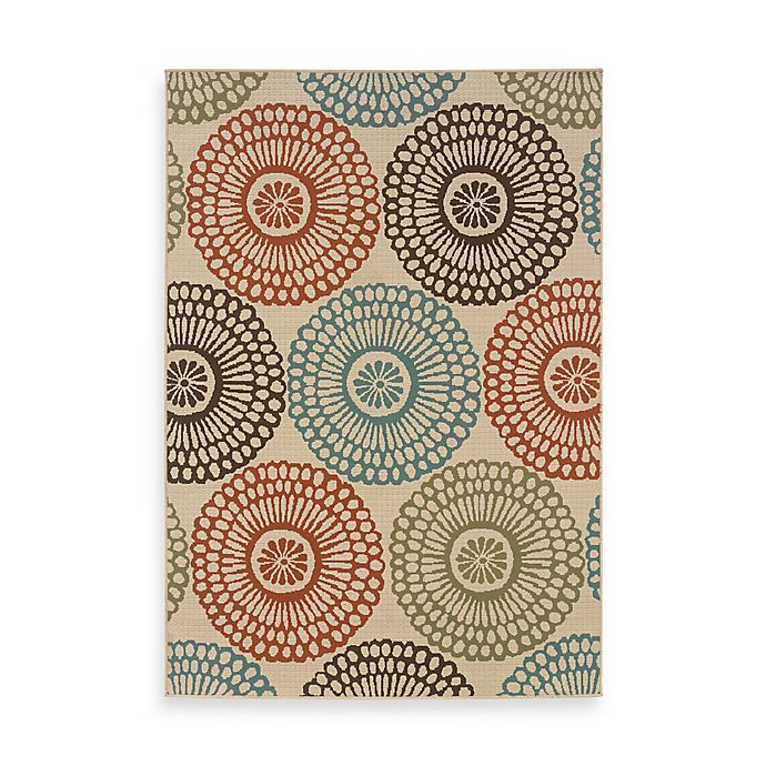 Alternate image 1 for Cabana Bay Resort Multi Medallions 1-Foot 9-Inch x 3-Foot 9-Inch Rug