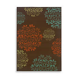 Cabana Bay Resort Medallion Indoor/Outdoor Rug in Brown