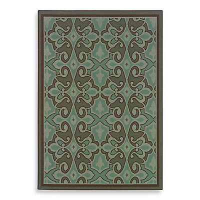 Cabana Bay Resort Indoor/Outdoor Rug in Damask Blue