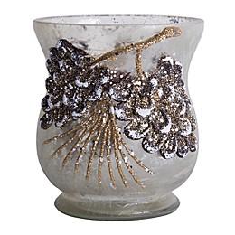 Home Essentials & Beyond Frost Pine Cone Design Glass Votive Holder in White