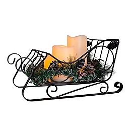 Home Essentials & Beyond LED Pillar Candle Sled Centerpiece