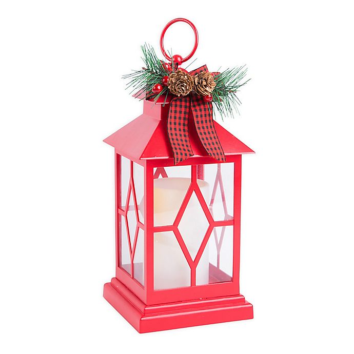Alternate image 1 for Home Essentials & Beyond Decorative Indoor Holiday Lantern in Red