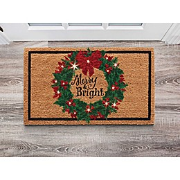 Pre-lit LED Holiday Wreath Door Mat