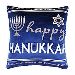 Happy Hanukkah Embroidered 20-Inch Square Throw Pillow in Blue