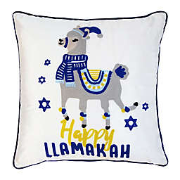 Happy Llamukkah Embroidered 20-Inch Square Throw Pillow in White