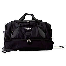 Traveler's Club® Adventurer 30-Inch Rolling Drop-Bottom Duffle Bag in Black
