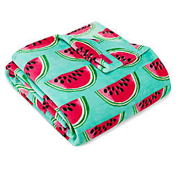 Watermelon Picnic Ultra Soft Plush Throw in Aqua