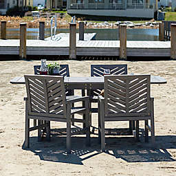 Forest Gate Olive 5-Piece Outdoor Acacia Extendable Table Dining Set in Grey Wash